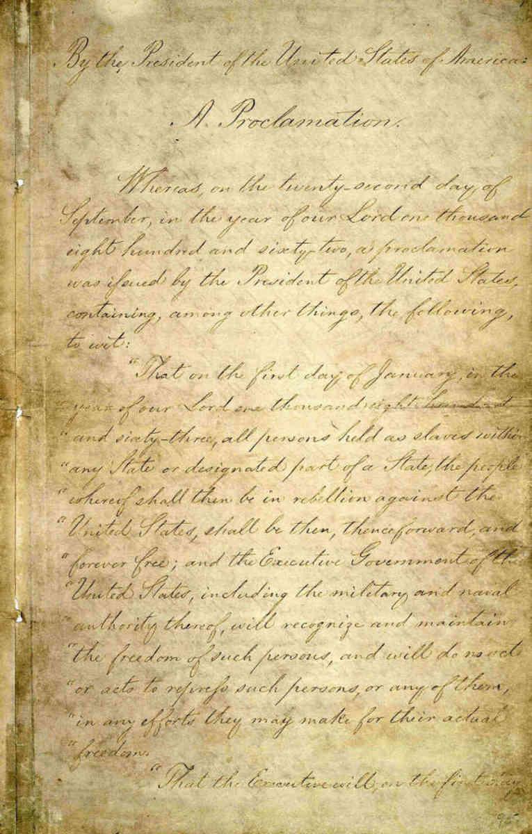 Original hand written Emacipation Proclamation.