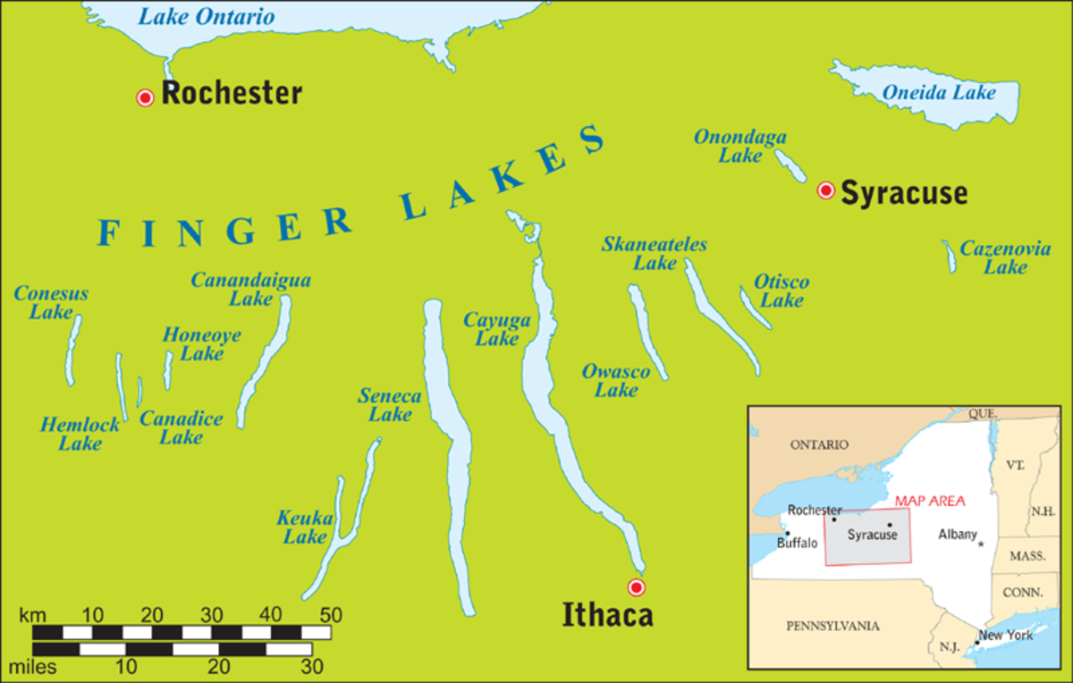 Map of the Finger Lakes region of New York State.