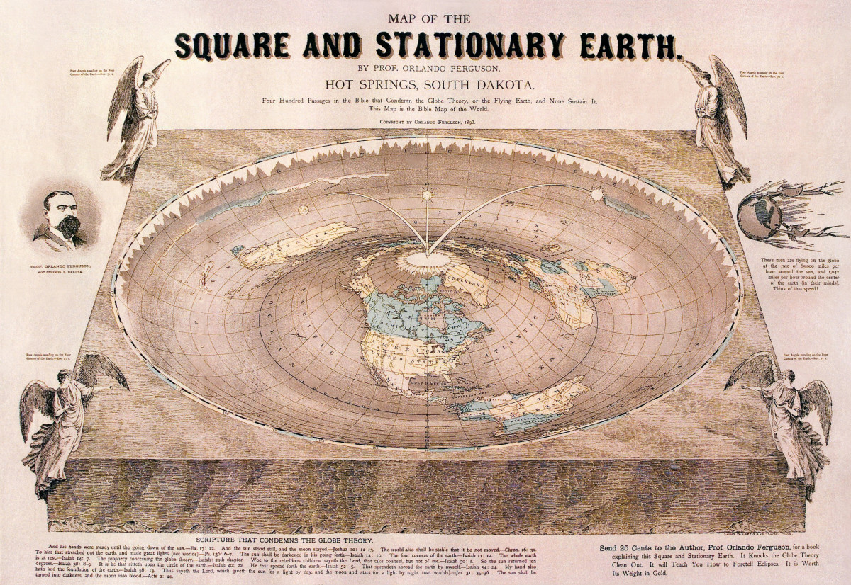Four Hundred Passages in the Bible that Condemns the Globe Theory, or the Flying Earth, and None Sustain It. This Map is the Bible Map of the World. Copyright by Orlando Ferguson, 1893.