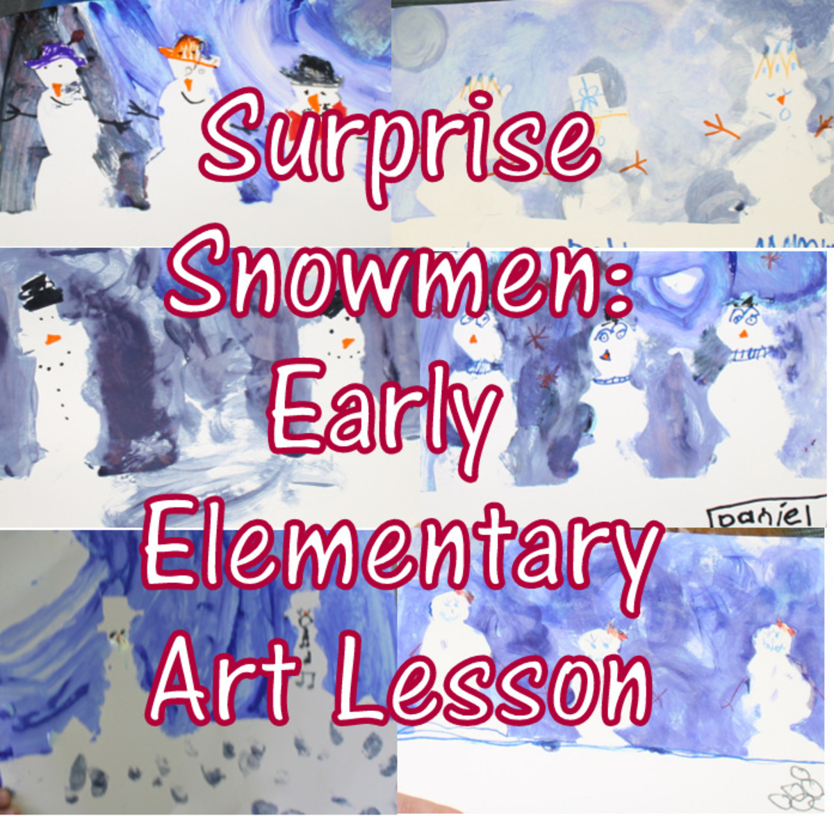 Snowman Art Lesson for Early Elementary to teach value, tints, and shades