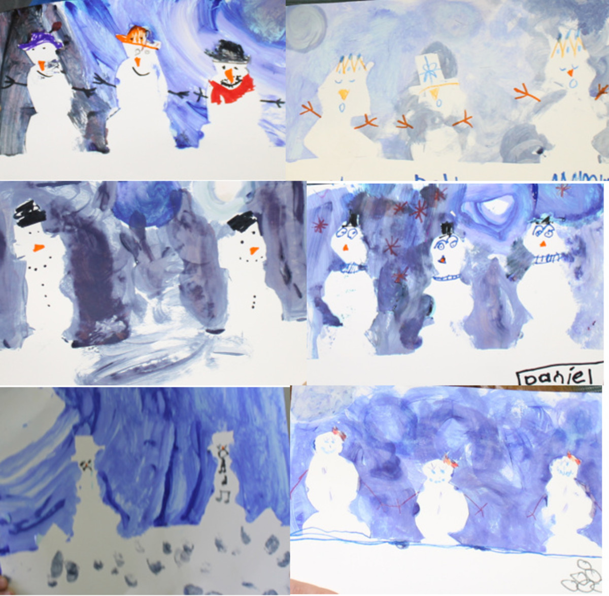 Reveal your snowmen and decorate them