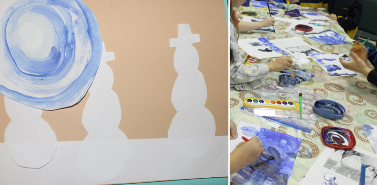 Painting tints and shades of blue using tempera paint (not watercolor paints)