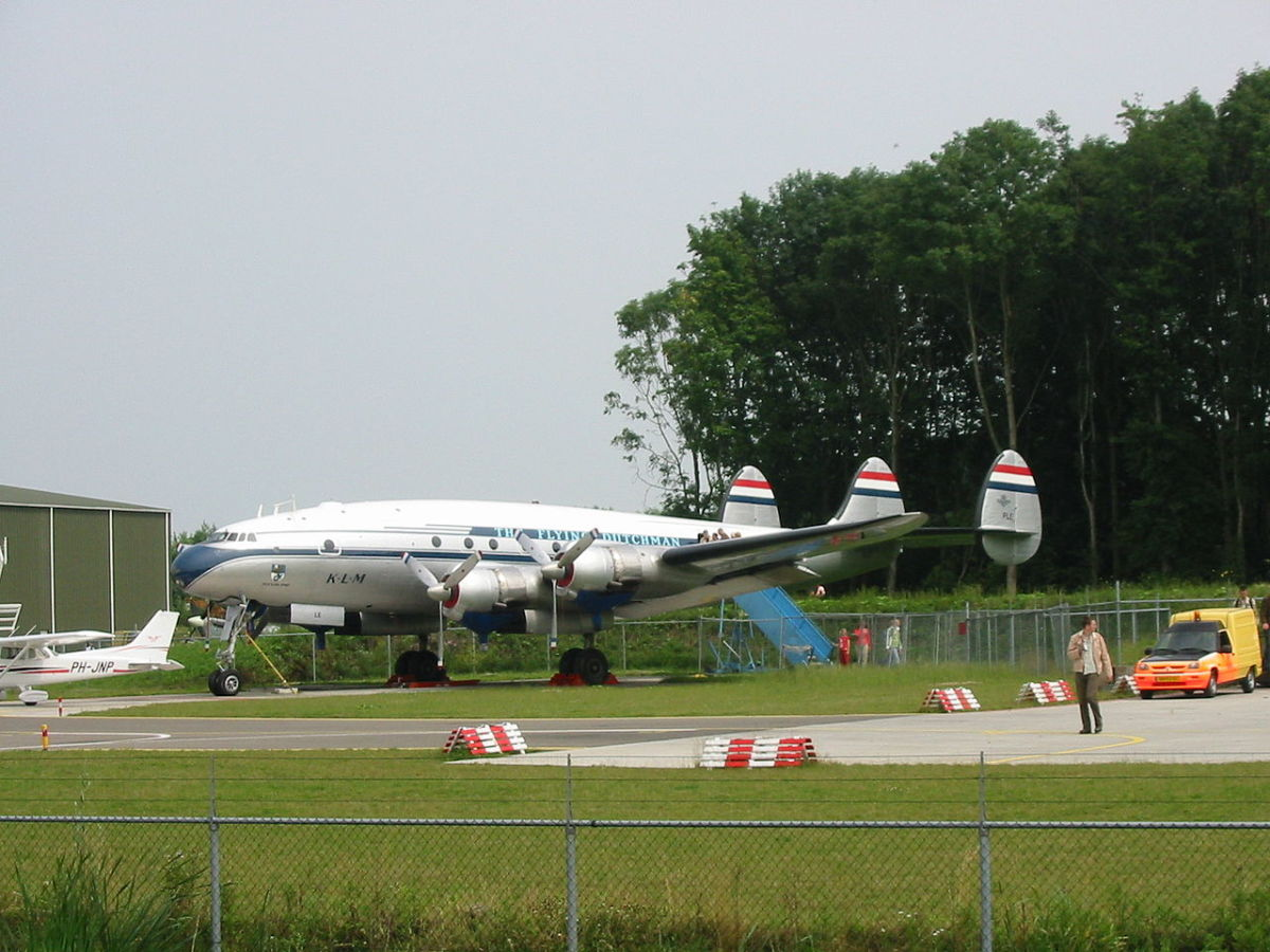 """A Constellation, """"The Flying Dutchman"""" on display at Aviodrome."""