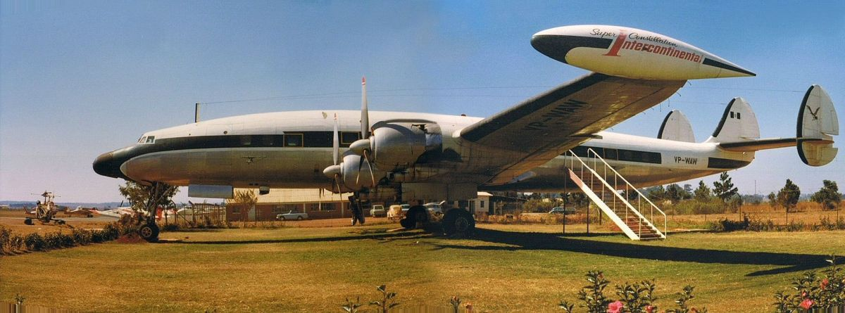 A Constellation at Salisbury, Rhodesia (Now Zimbabwe), being used as a headquarters for a flying club.