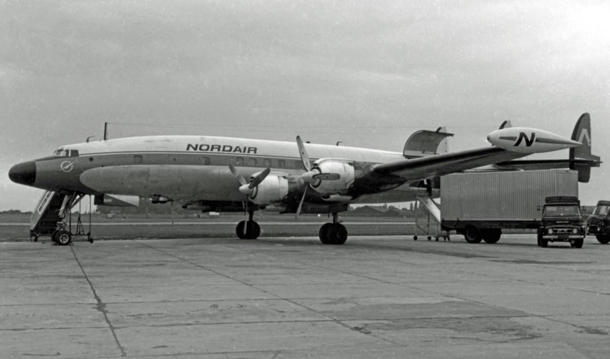 An L-1049H Nordair freighter at Manchester, 1966.