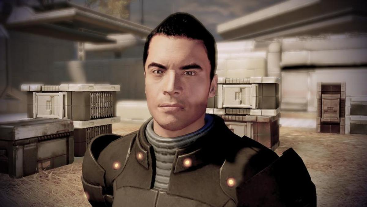 Angry Kaidan approaching Shepard on Horizon.