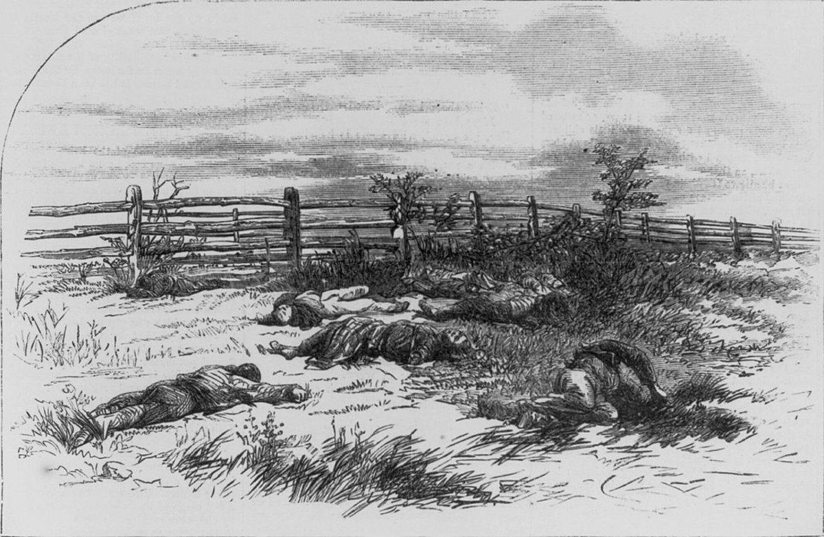 Drawing of Dead Confederate Soldiers near the Dunkard Church and Sharpsburg Pike