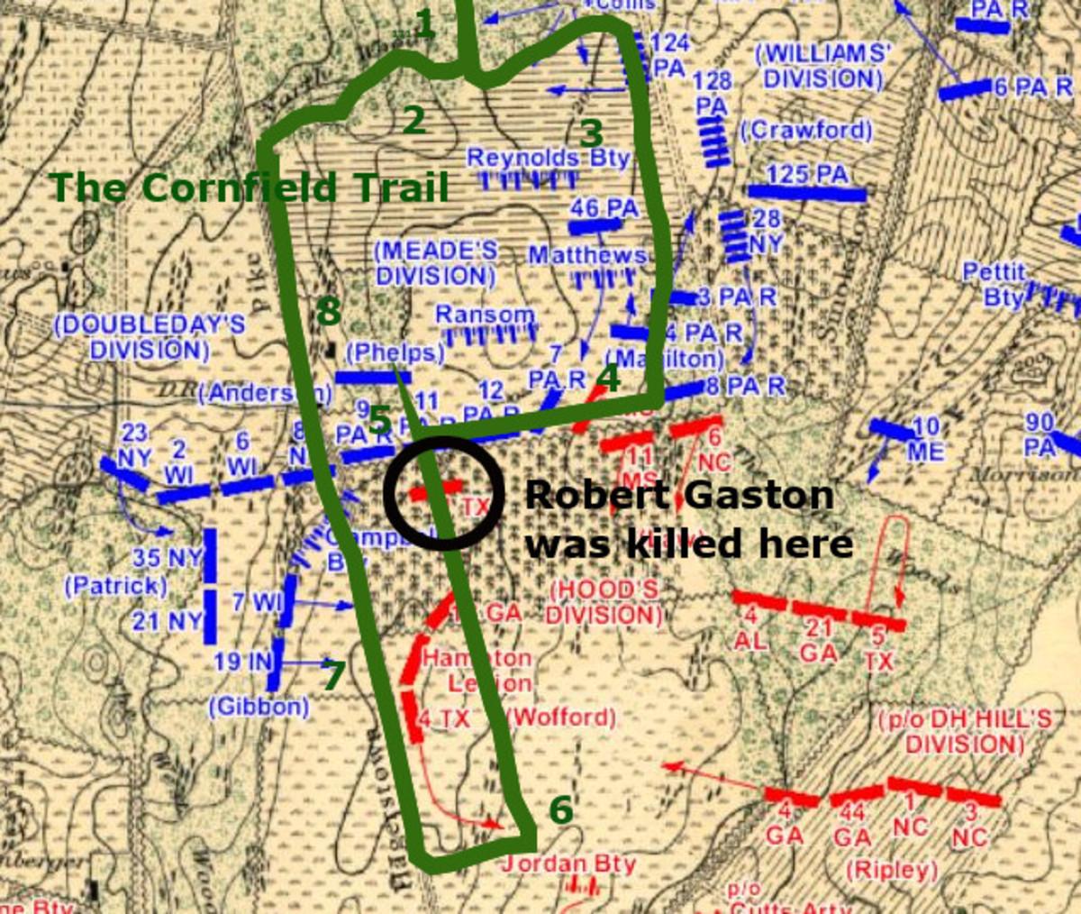 Robert Gaston was Killed Here | Bloody Cornfield Battle Map | The Cornfield Trail