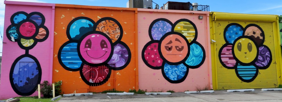Portion of the Emoji Flowers Mural by Scott Tarbox at 2112 Leeland Street, Houston, Texas 77003