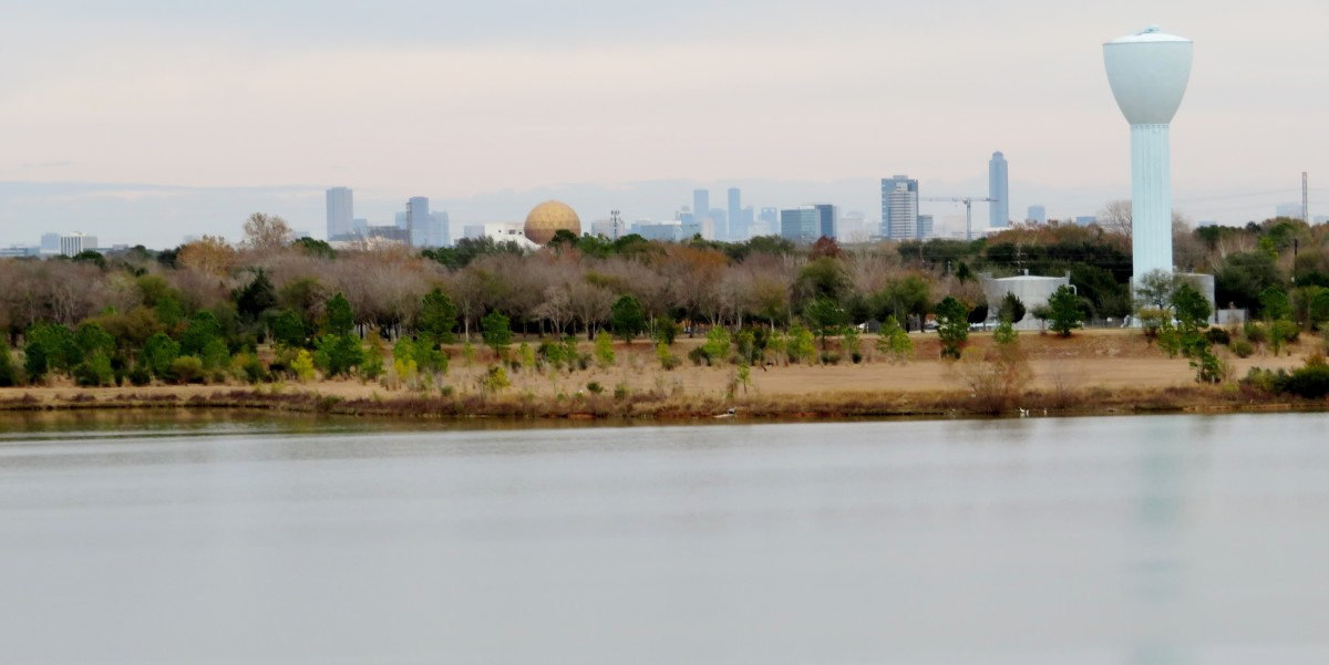 View of Chong Hua Sheng Mu Holy Palace & Distant Galleria Buildings from Archbishop Joseph Fiorenza Park
