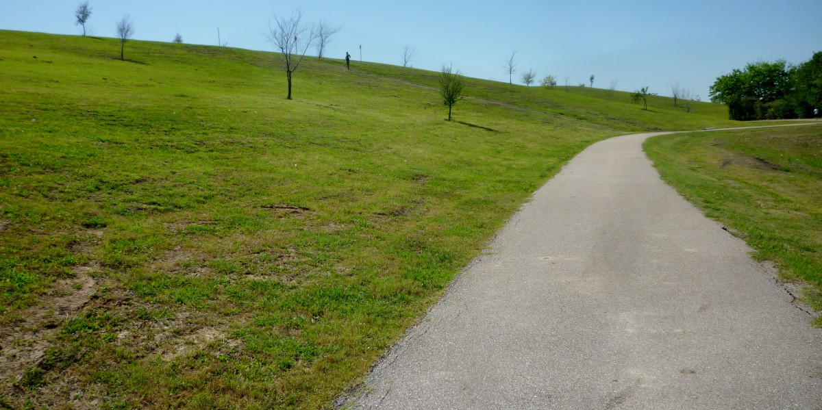 View of the paved trail leading up the hill