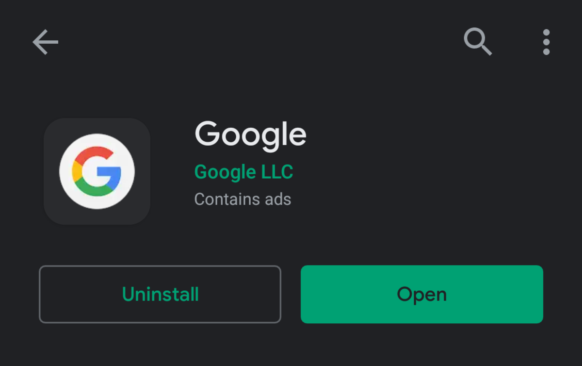 Download or update the Google application