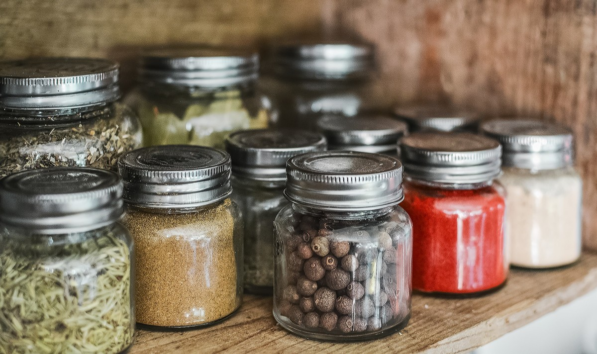 Most spices dry can well. Smaller jars such as those shown work better because only small amounts are used at a time.