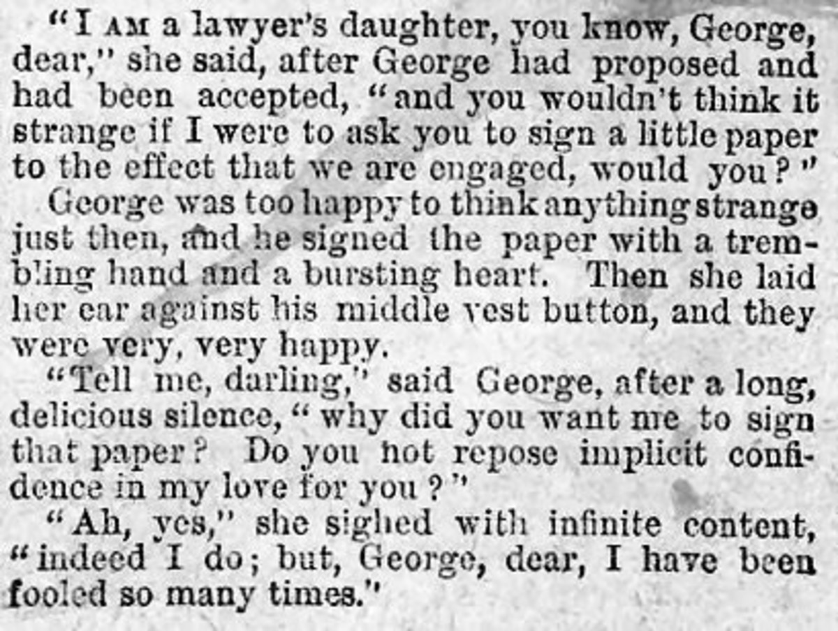 A Lawyer's daughter's contract of agreement to her engagement