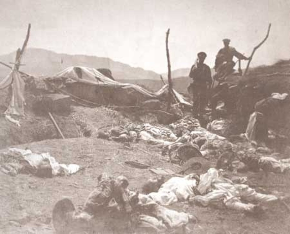 Photo by Felice Beato, 1st Photagrapher of Korea. Some of 350 Korean dead in Japanese invasion, 1871. (public domain)