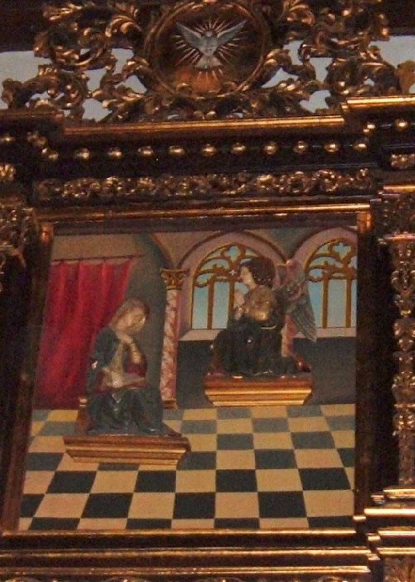 Masonic checkerboard in painting in a church in Puerto