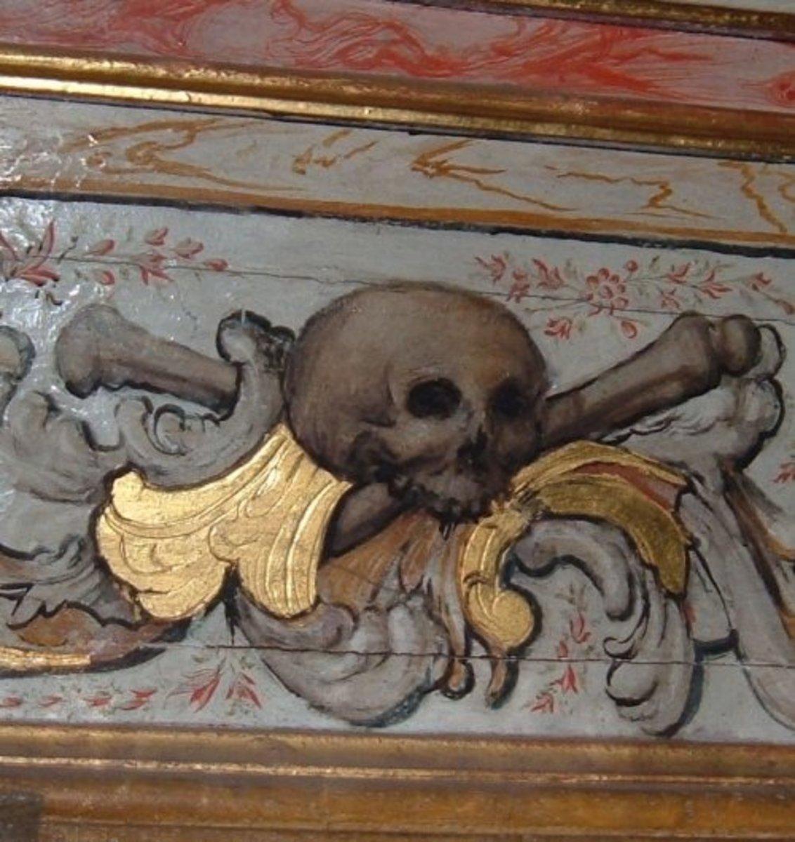 Skull and bones in a church in Icod