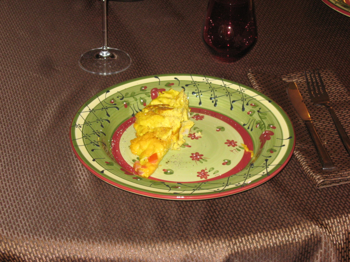 Ostrich egg omelet almost ready to eat.