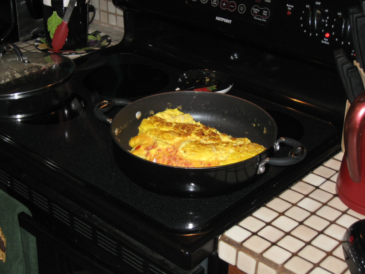 The finished ostrich egg omelet on the stove