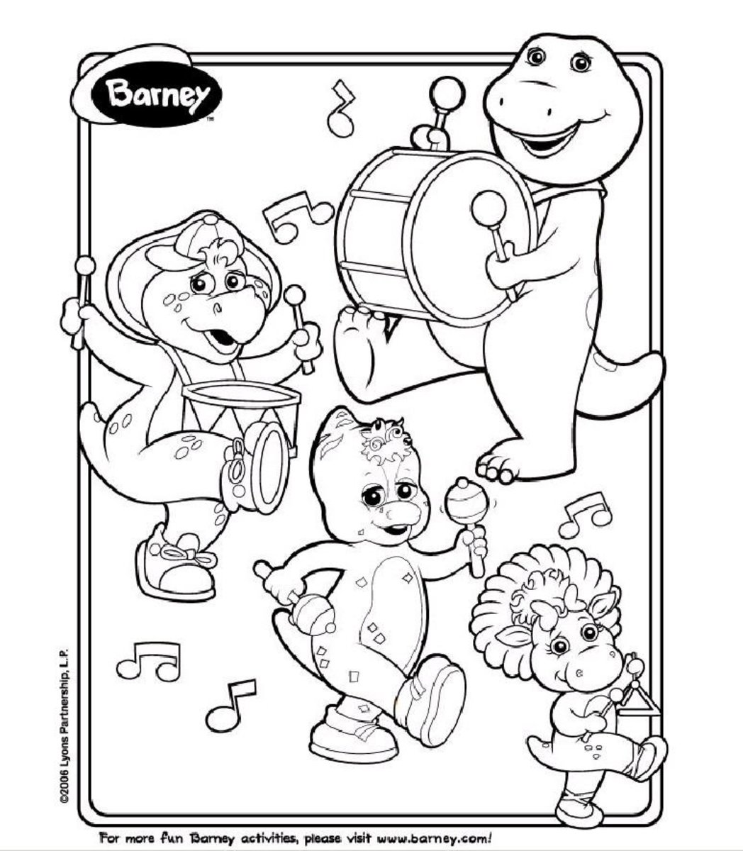 Barney coloring page with BJ and Baby Bop