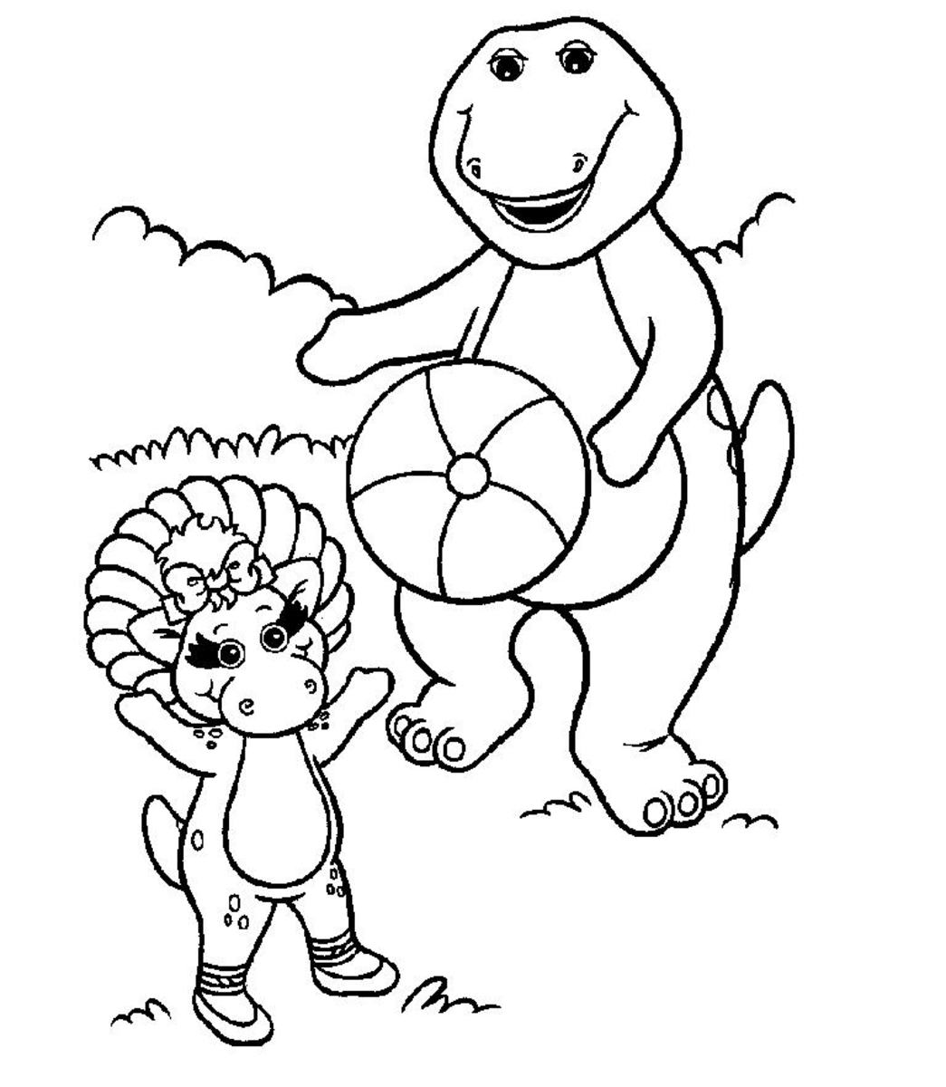 Barney and Baby bop coloring sheet