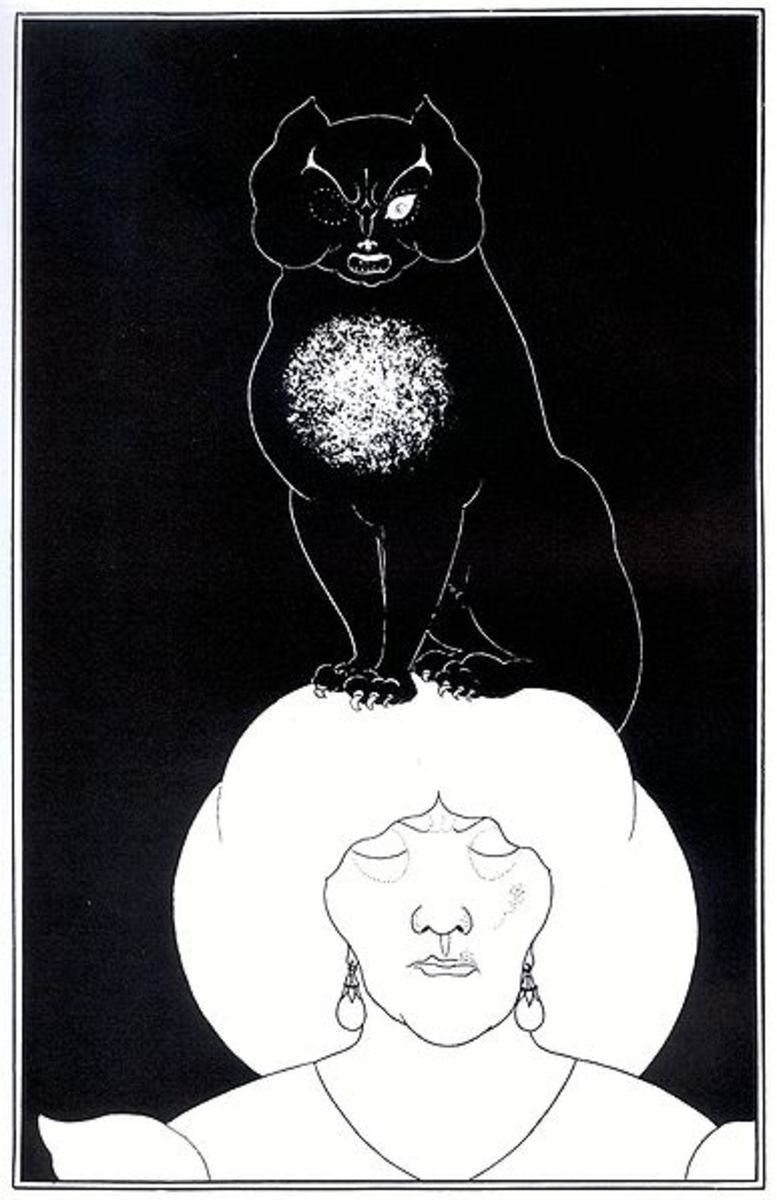 Kara Kedi (1894) an illustration for a book of short stories by Edgar Allan Poe