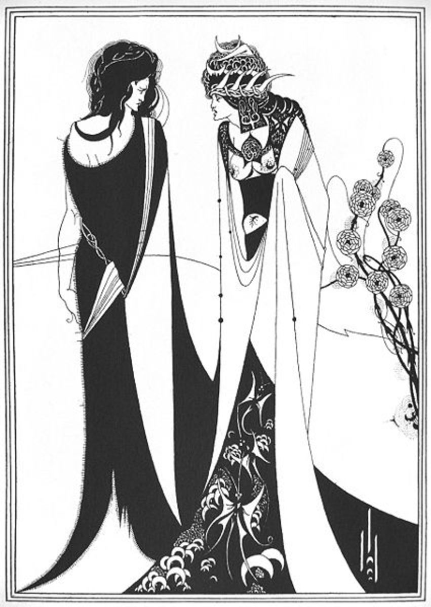 John and Salome meet in this highly stlized illustration.