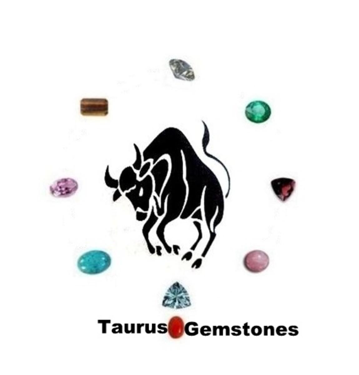 Taurus Gemstones : Diamond, Aquamarine, Kunzite, Garnet, Tiger Eye Quartz, Emerald, Rose Quartz, red coral and Turquoise.