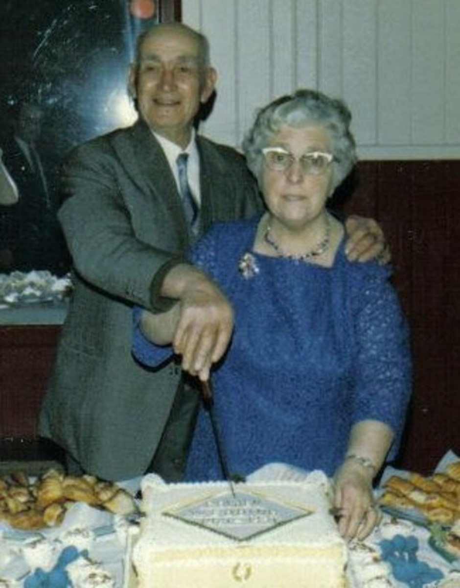 My paternal grandparents, George and Elsie (nee Adshead) celebrating their Golden Wedding Anniversary.  Photo: Eric Bray.