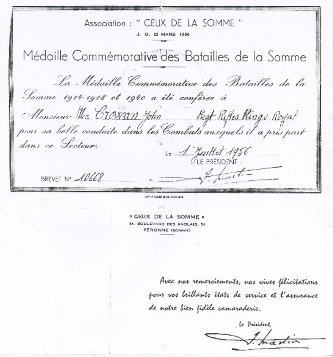 Document verifying John Joseph McGowan's presence at the Battle of the Somme (1st July to 18th November 1916.)