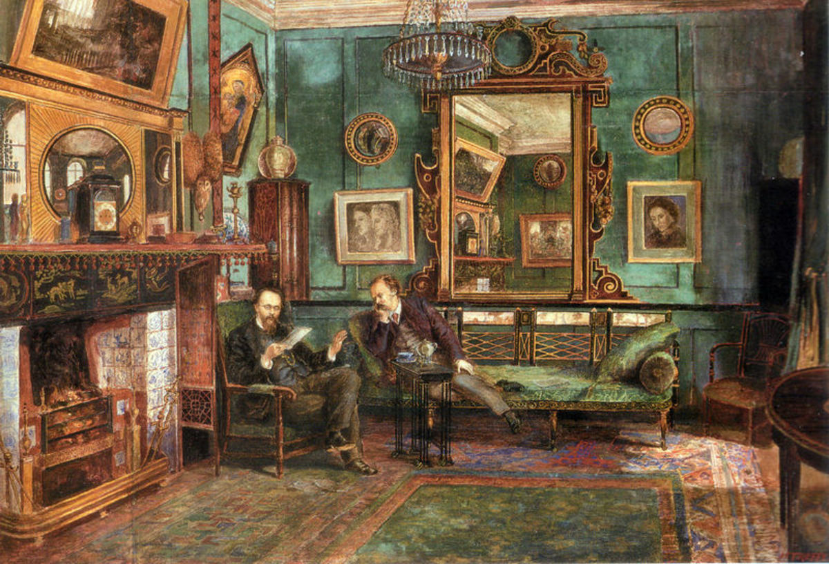 Dante Gabriel Rossetti reading proofs of Sonnets and Ballads to Theodore Watts Dunton in the drawing room at 16 Cheyne Walk, London, 1882.
