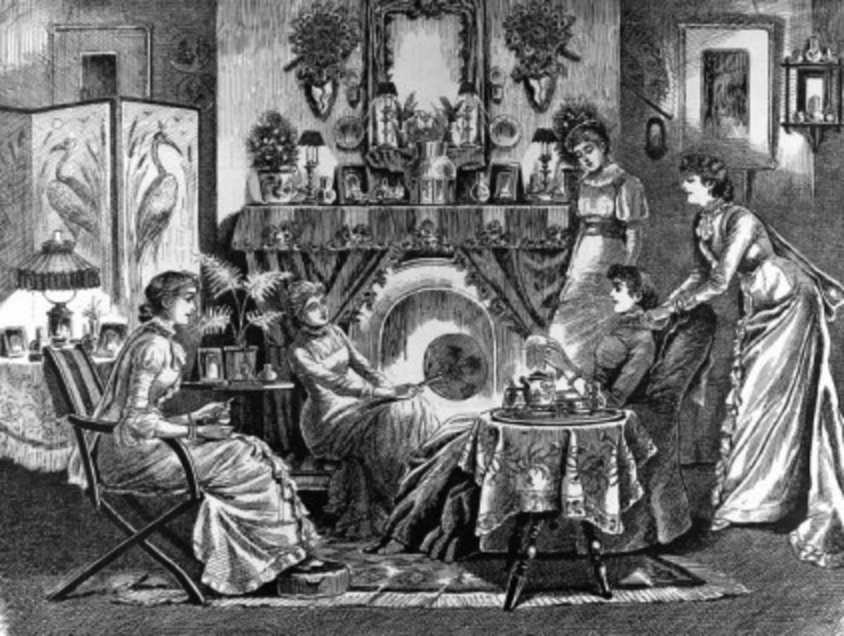 Victorian tea. Engraving by Cyril Hallward.