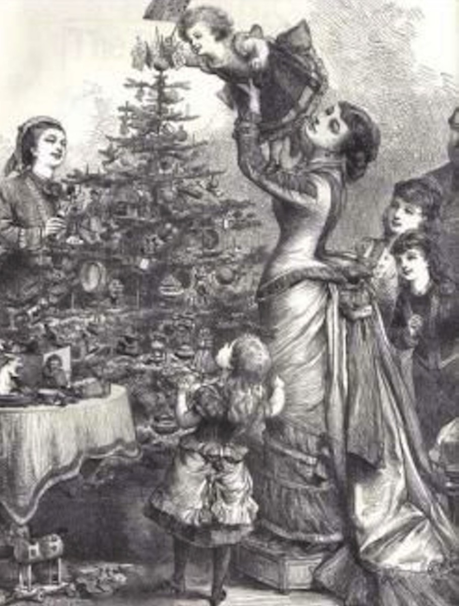The custom of elaborately decorated Christmas trees was popularized in the U.S. by the Victorians and epitomizes the exhuberant Victorian love of opulence.