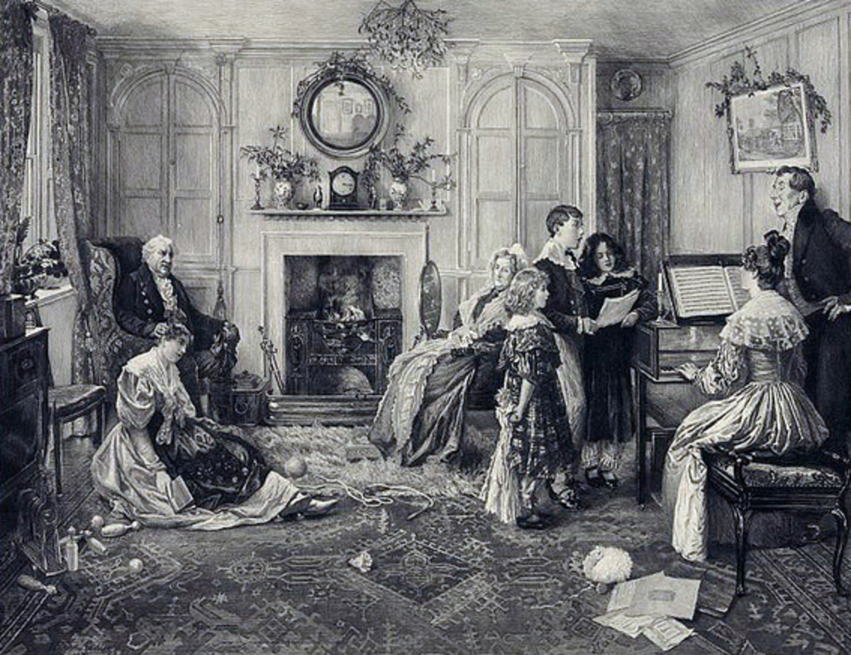 Family gathered around piano c. 1870