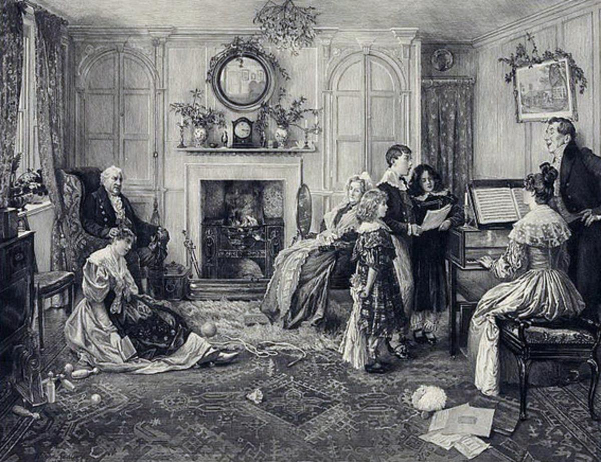 Family gathered around piano c. 1870