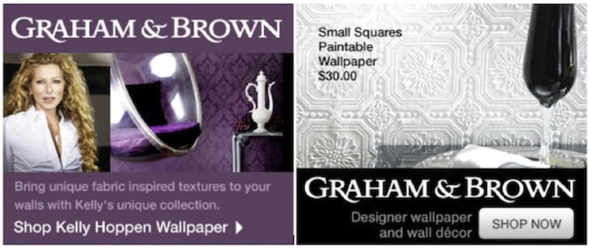 Shown above are just two of the Victorian style designer Wallpapers available from