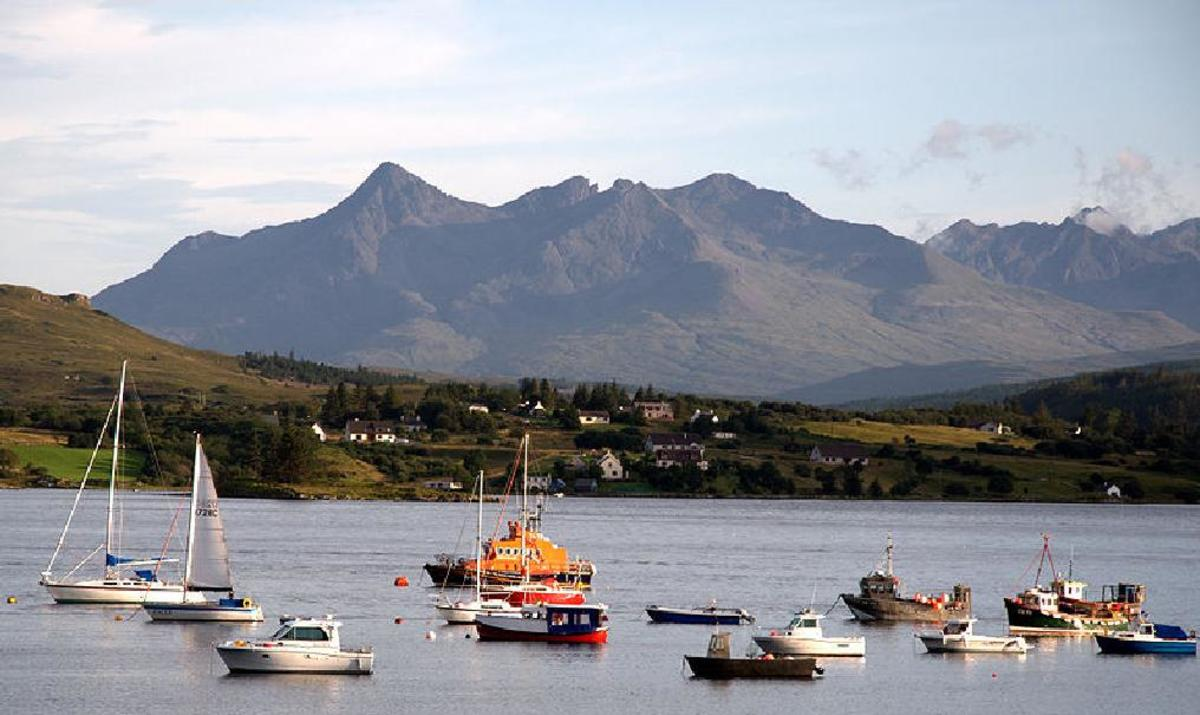 the Cuillins from Portree Harbour