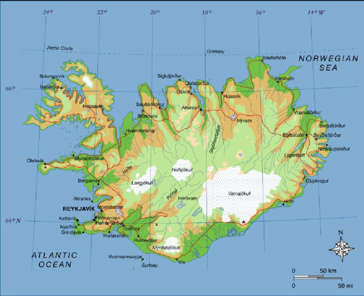 relief-map ICELAND