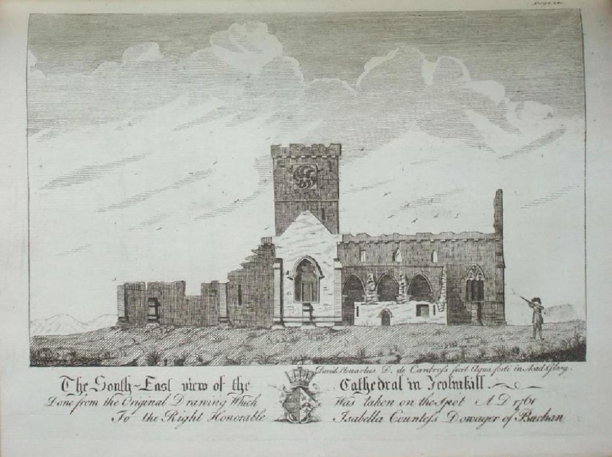 Engraving of the ruined abbey church in 1761