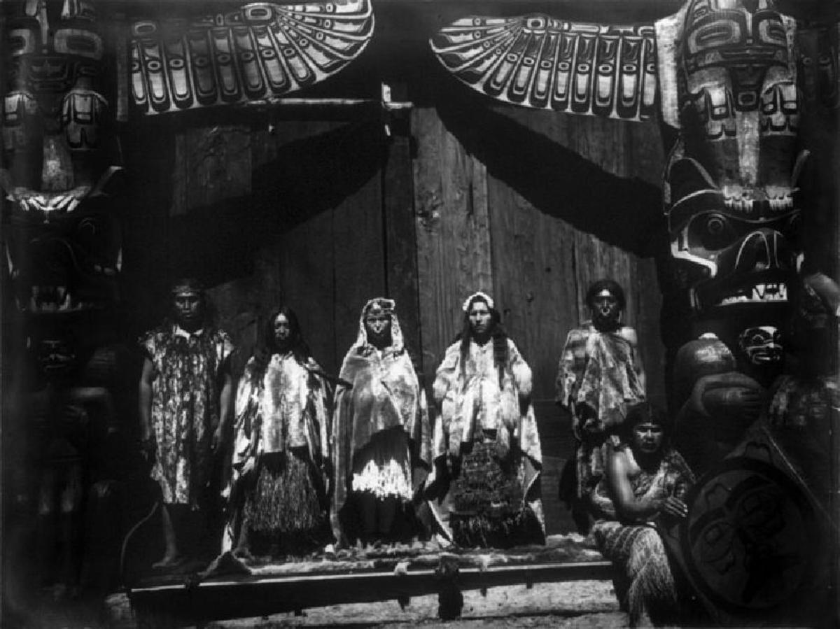 Kwakiutl bridal group, Vancouver Island, 1914