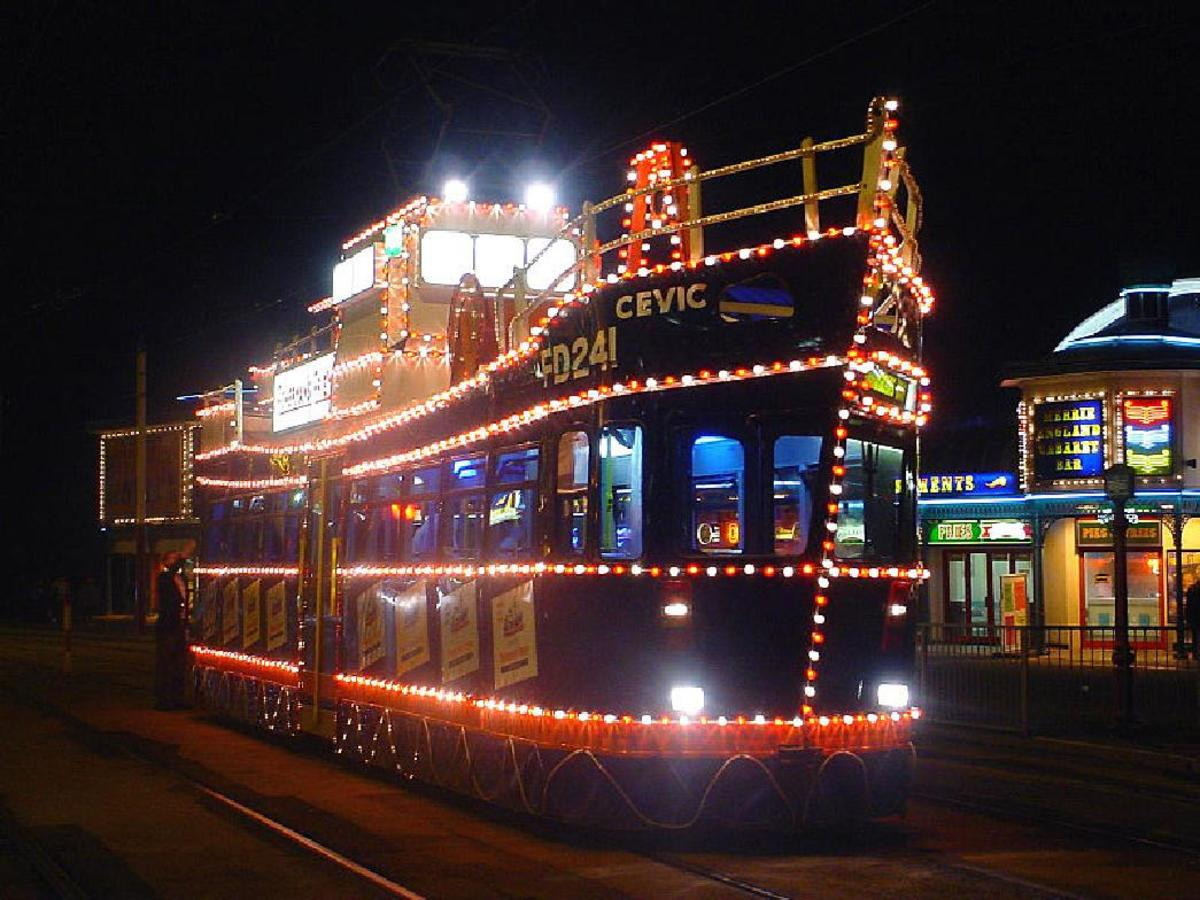 A tram dressed as a ship