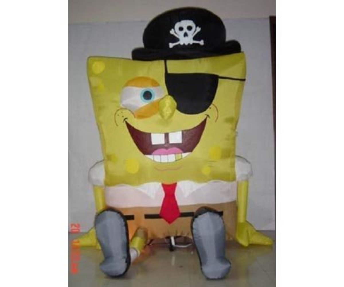 halloween inflatable sponge bob pirate