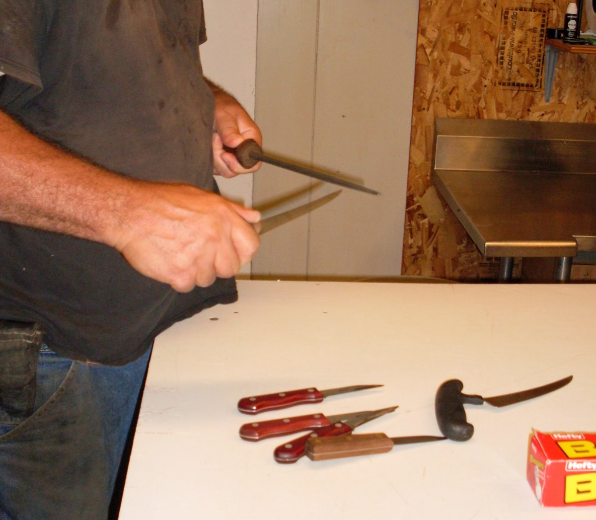 We sharpened a selection of knives, different makes and sizes for different hands and jobs.