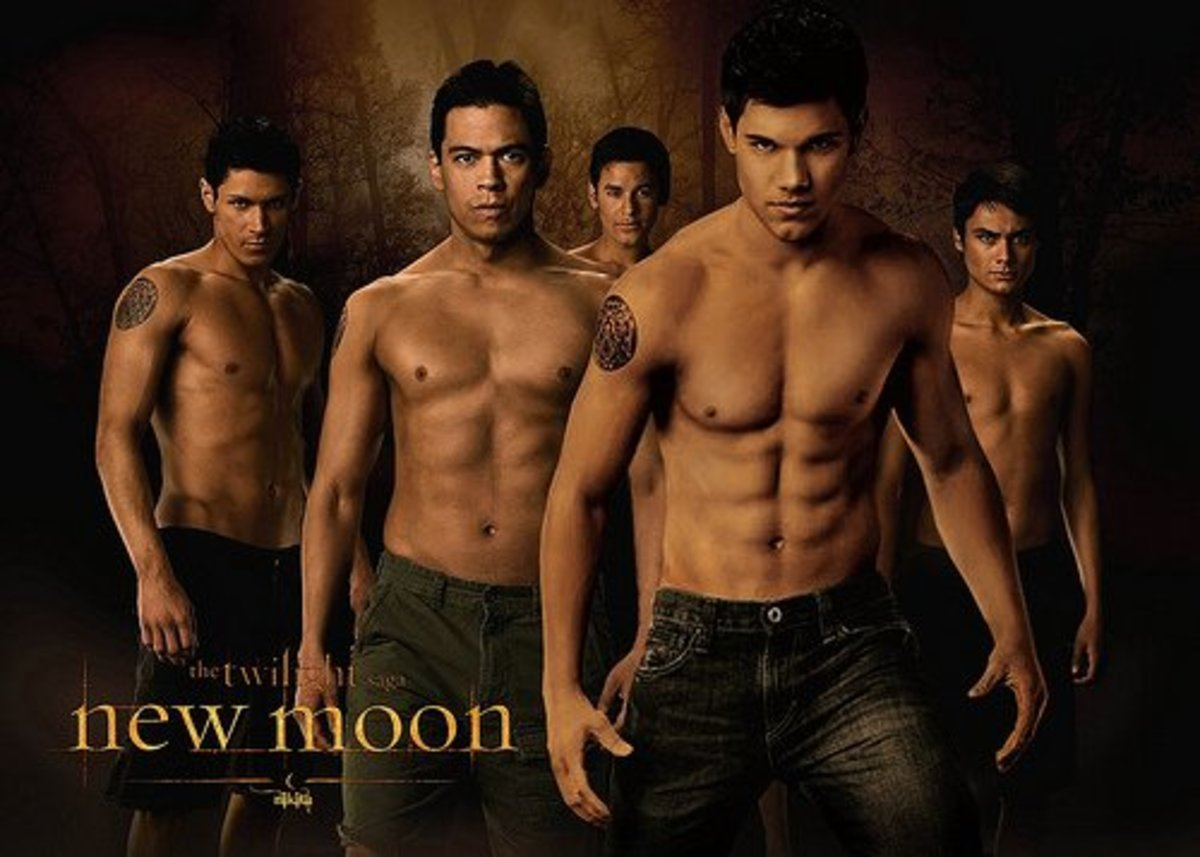 Jacob Black leads the wolf pack.Note the tribal tattoos.