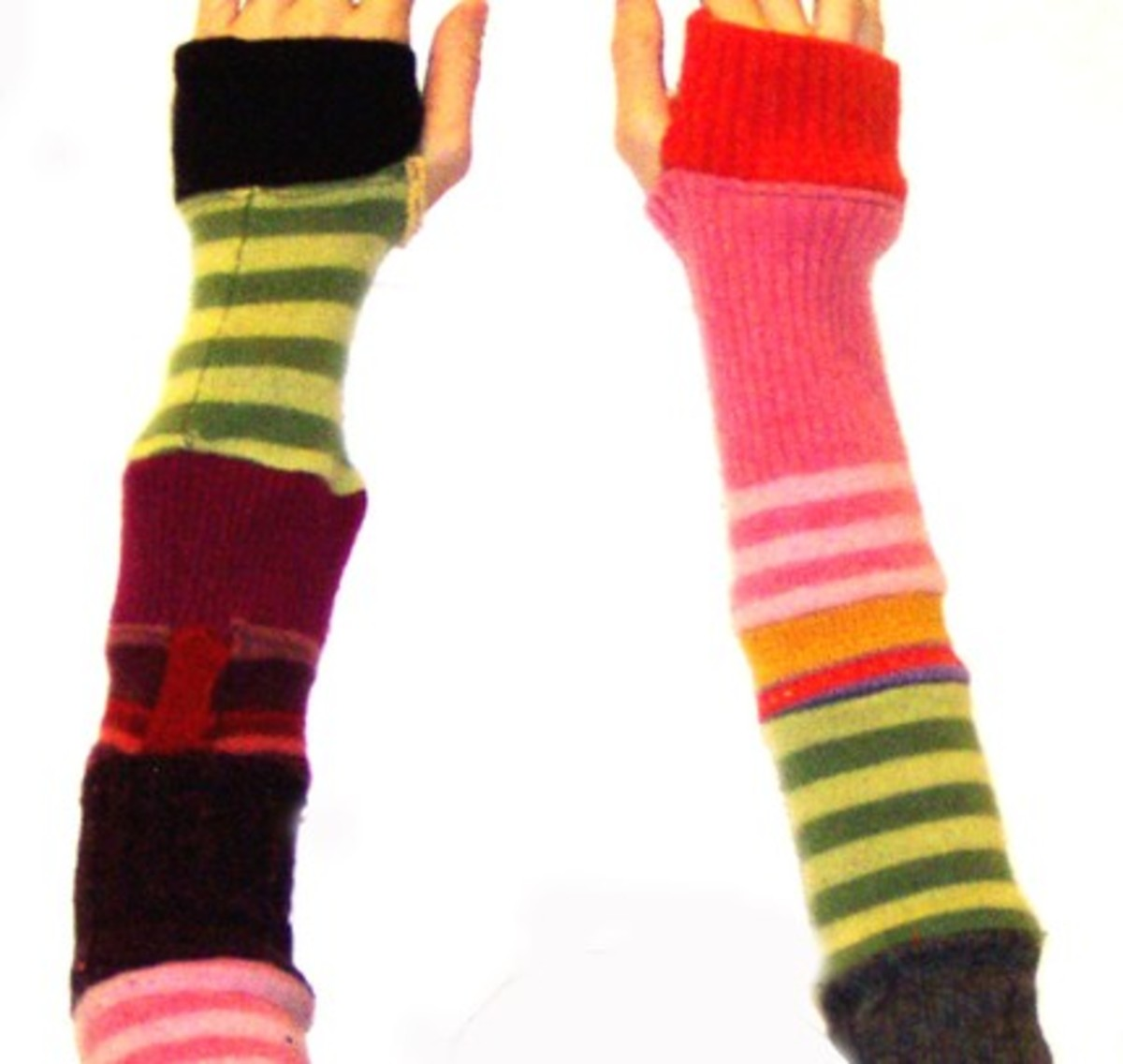 A creative use of color and texture from a  gifted crafter photo from www.stylehive.com/tag/arm_warmers