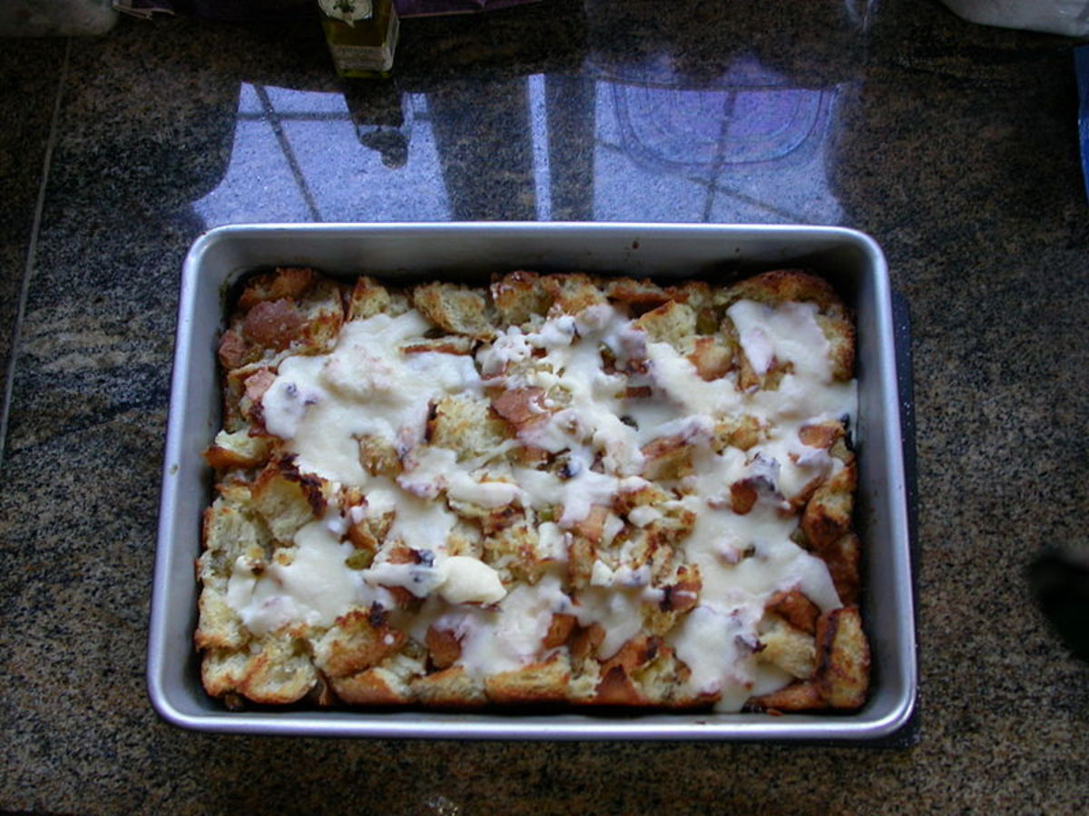 Bread pudding looks delicious on top, but some people bake surprising ingredients inside.