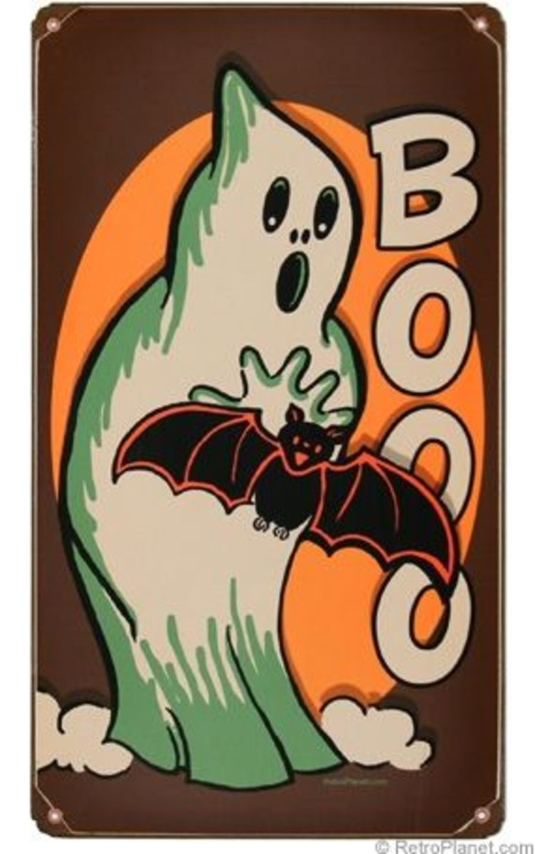 Vintage Style Ghost Tin Sign