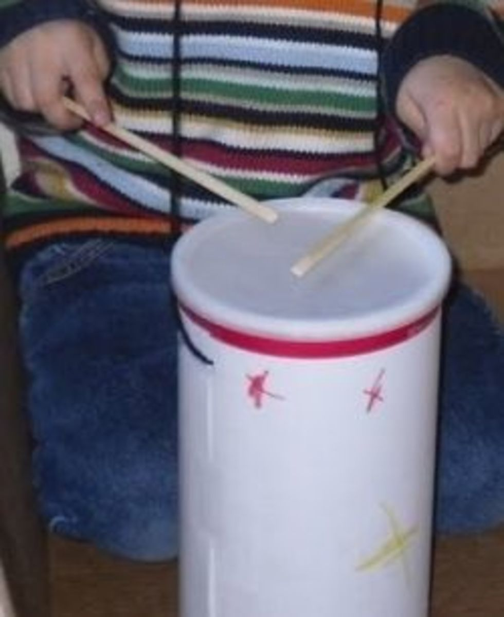 Making a drum using an oatmeal container