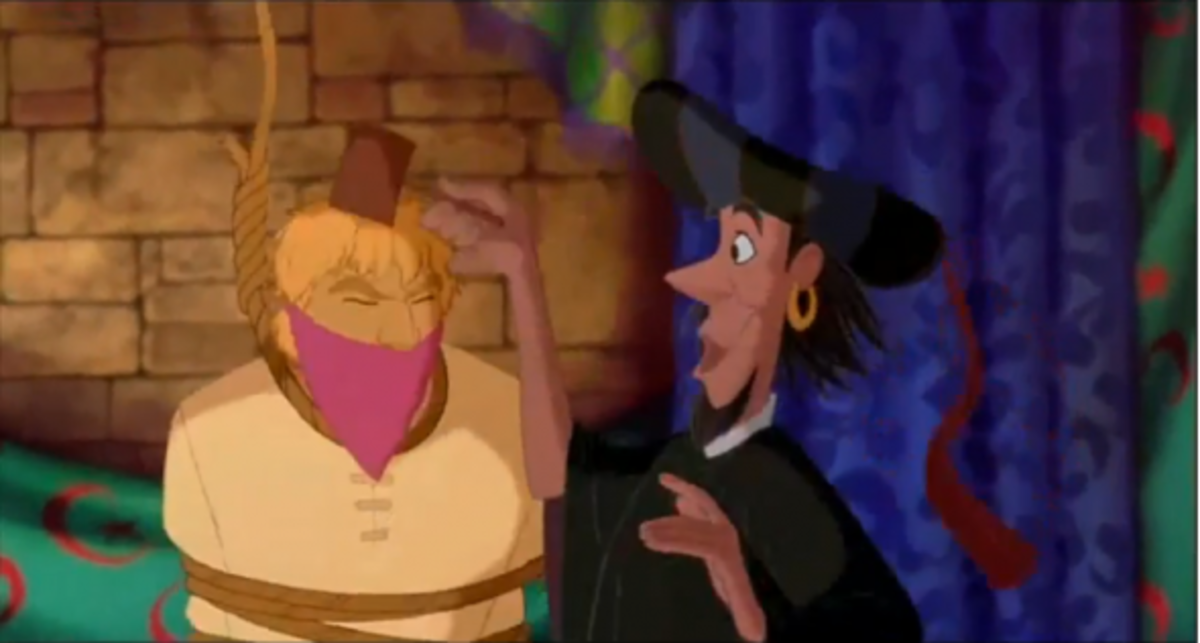 Disney's Clopin dressed as Frollo with Phoebus