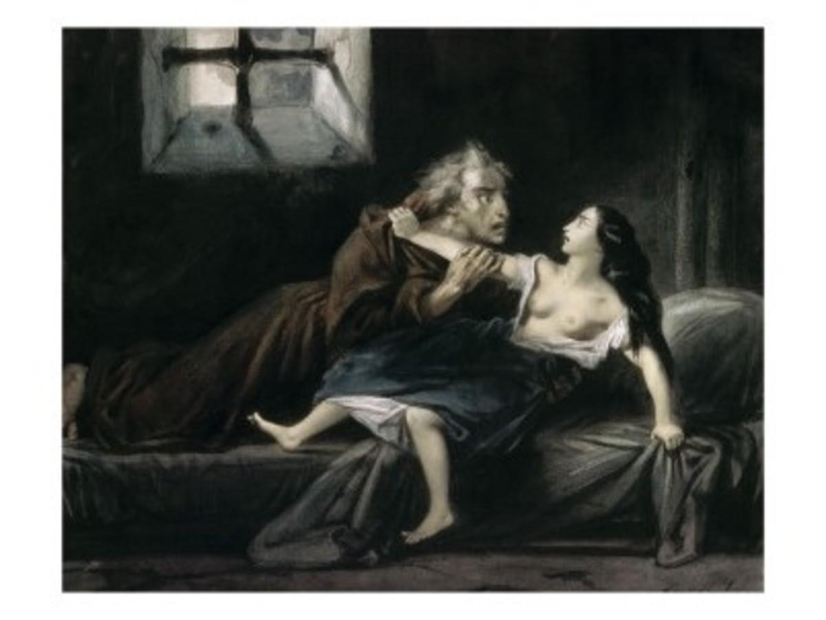 Frollo and Esmeralda Porte de Rouge scene Louis Boulanger